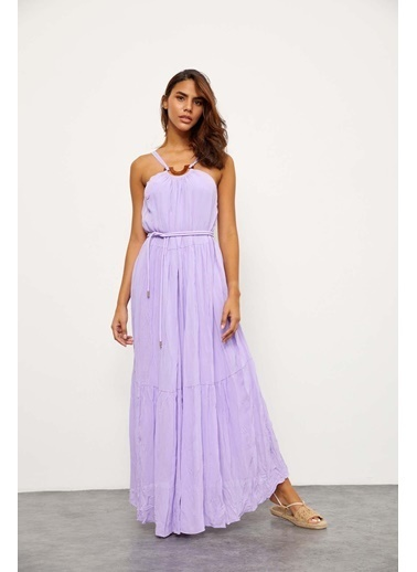 Setre Lila Jorjet Tokalı Uzun Elbise Lila